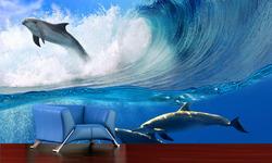 Fototapeta Delfíni ve vlnách