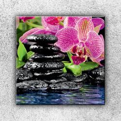 Foto na plátno Kameny s květinou 1 70x70 cm