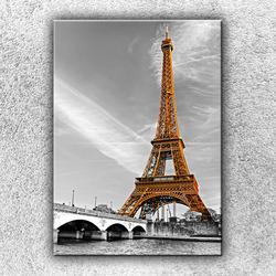 Foto na plátno Zlatá Eiffelovka 70x50 cm