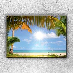 Foto na plátno Slunce a palmy 1 50x35 cm