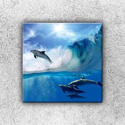Foto na plátno Delfíni ve vlně 30x30 cm