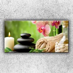 Foto na plátno Orchideje s kameny 1 100x50 cm