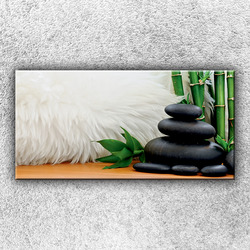 Foto na plátno Kameny s kožešinou 100x50 cm