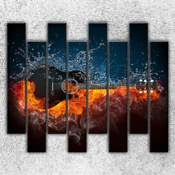 Foto na plátno Kytara v ohni 160x140 cm