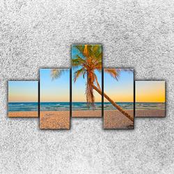 Foto na plátno Písečná pláž s palmou 2 125x70 cm