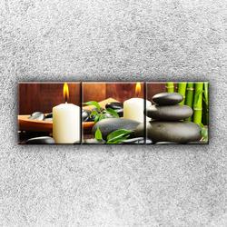 Foto na plátno Svíčky s kameny 120x40 cm