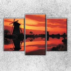 Foto na plátno Mlýny při západu slunce 75x50 cm
