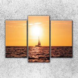 Foto na plátno Západ slunce nad jachtou 3 75x50 cm
