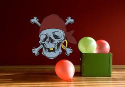 Barevná samolepka na zeď Pirátská lebka