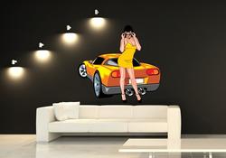 Barevná samolepka na zeď Dívka u auta 3