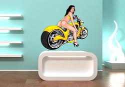 Barevná samolepka na zeď Dívka u motorky 1