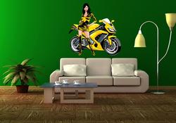 Barevná samolepka na zeď Dívka u motorky 2