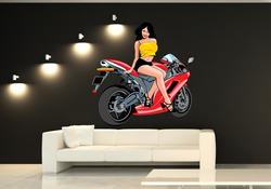 Barevná samolepka na zeď Dívka u motorky 3