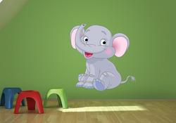 Barevná samolepka na zeď Sedící slonice