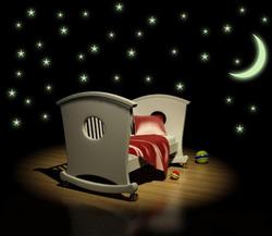 Samolepka na zeď SVÍTÍCÍ Hvězdy s měsícem