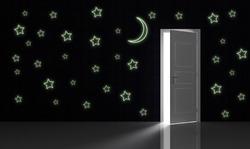 Samolepka na zeď SVÍTÍCÍ Obrysy hvězd a měsíce