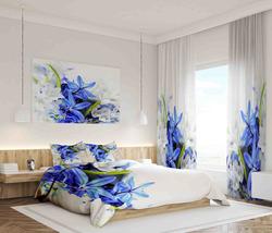 Závěsy Modré a bílé květy