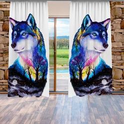 Závěsy Vlk art