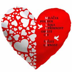 Polštářek srdcový - Miluji tě tajenka