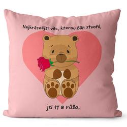 Polštář Medvídek s růží