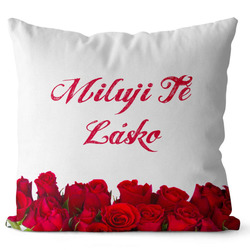 Polštář Miluji tě-růže