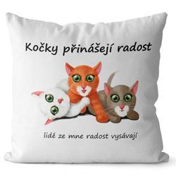 Polštář Kočky přinášejí radost