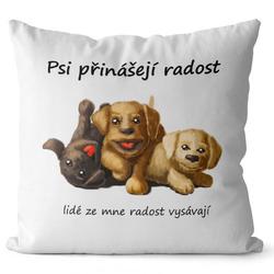 Polštář Psi přinášejí radost