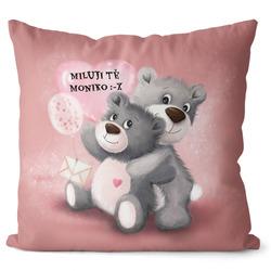 Polštář s vlastním textem - Milující medvídci