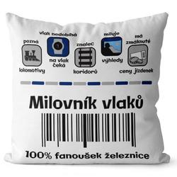 Polštář Milovník vlaků 100%