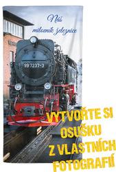 Osuška z vlastních fotografií a textů pro milovníky vlaků
