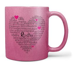 Hrnek Rodina – srdce z textů – růžový