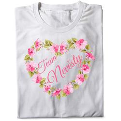 Tričko Team nevěsty – srdce z květin (dámské)