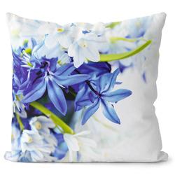 Polštář Modré a bílé květy