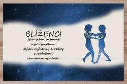 Prostírání Blíženci (22.5. - 21.6.) - modré