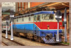 Prostírání Vlak ve stanici