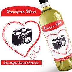 Bílé víno s fotkou v srdci + věnování