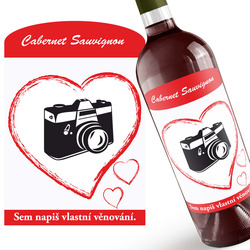 Červené víno s fotkou v srdci + věnování