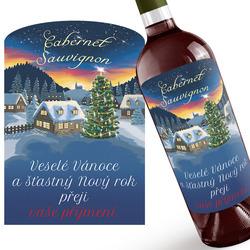 Červené víno s vánočním přáním