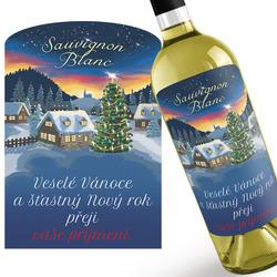 Bílé víno s vánočním přáním