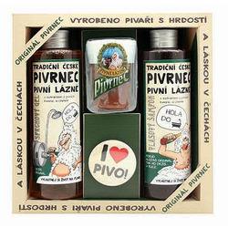 Sada Pivrnec gel 250ml, šampon 250ml, mýdlo 70g a button