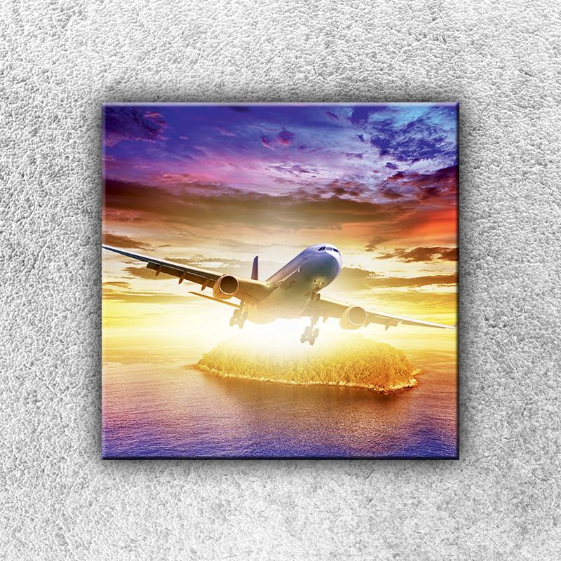 Foto na plátno Letadlo se sluncem 30x30 cm