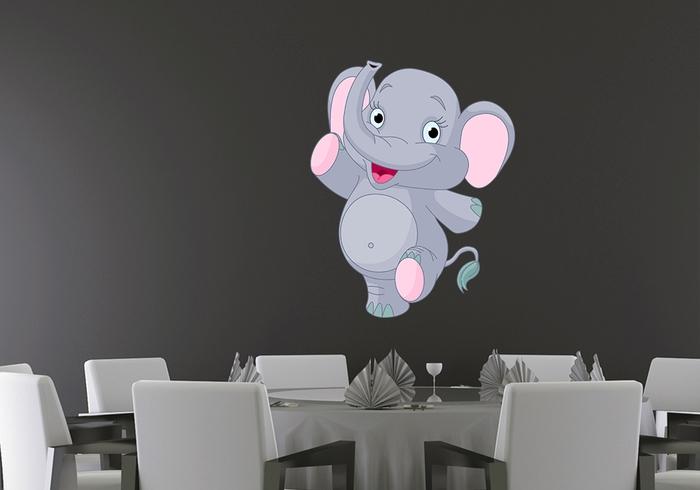 IMPAR Samolepka na zeď Pochodující slon (Velikost: 80 x 64 cm)