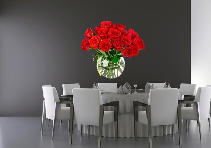 IMPAR Samolepka na zeď Váza růží (Velikost: 80 x 70 cm)