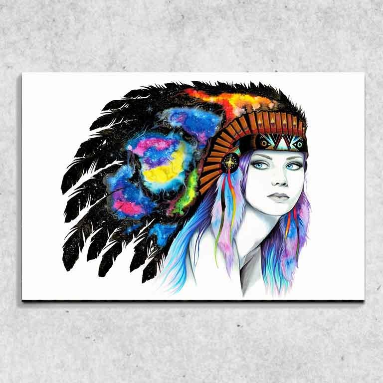 Foto na plátně Space indiánka art 90x60 cm