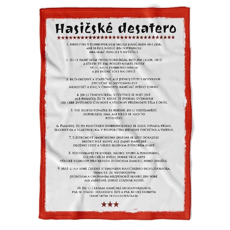 Deka Hasičské desatero - listina