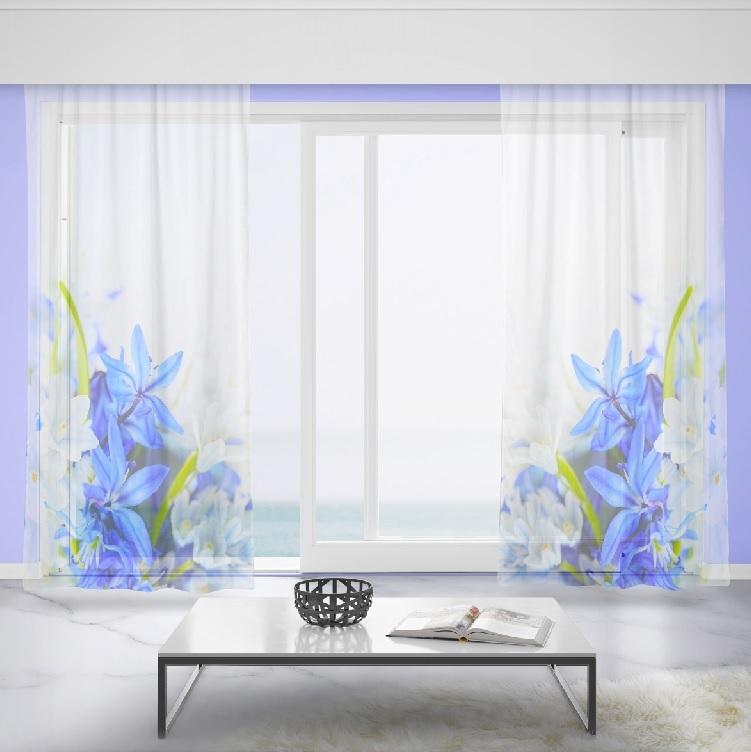 Záclony Modré a bílé květy