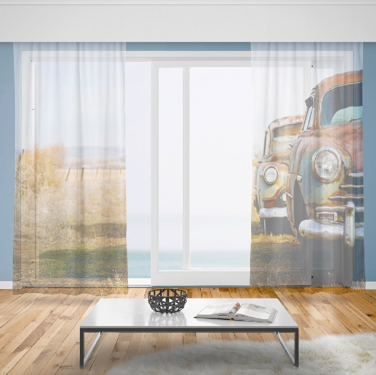 Záclony Vrak auta (Rozměr záclony: 150x250)