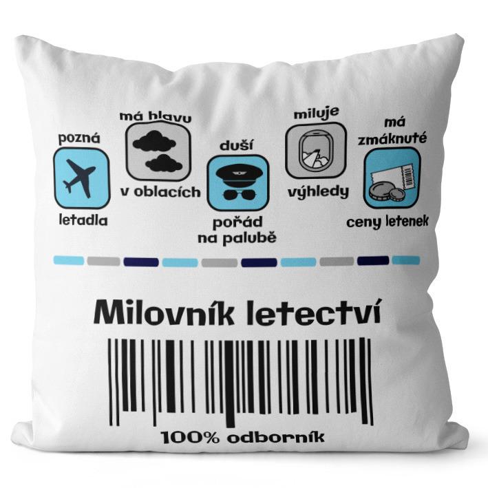 Polštář Milovník letectví 100%