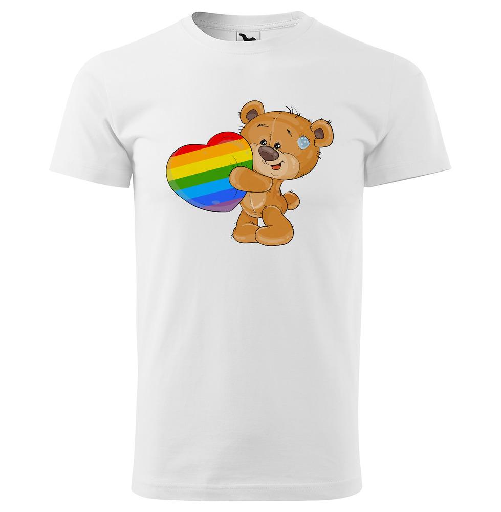 Levně Tričko LBGT Bear (Velikost: 3XL, Typ: pro muže, Barva trička: Bílá)