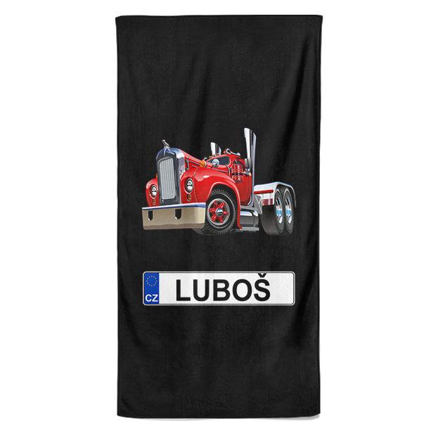 Osuška SPZ se jménem – barevný kamion (Jméno: Luboš)